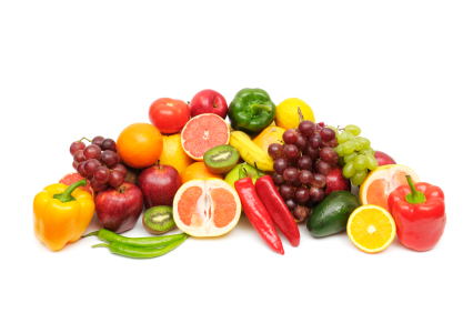fresh fruits and vegetables isolated on a white background